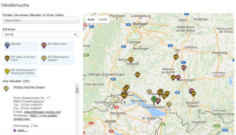 Integrierte Händlersuche auf der KW Homepage