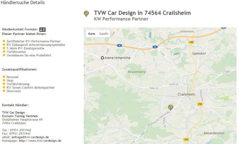 Intuitive Händlersuche auf der KW Homepage