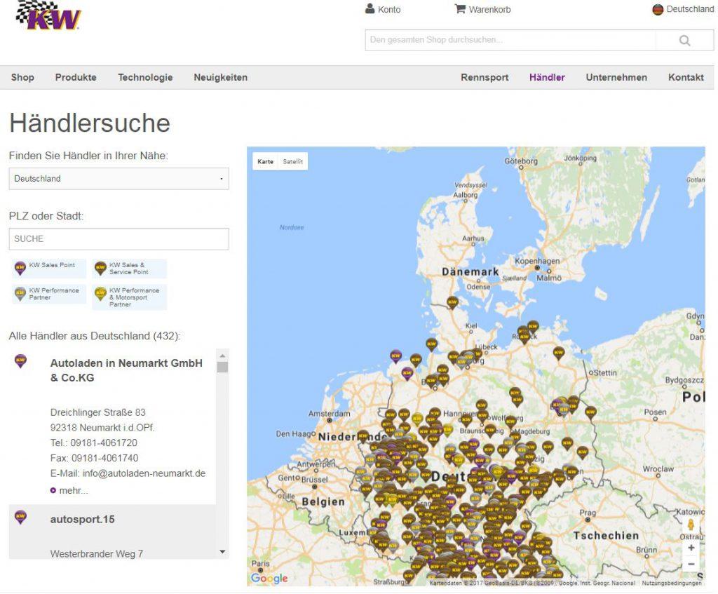 KW Händlersuche auf der KW Homepage